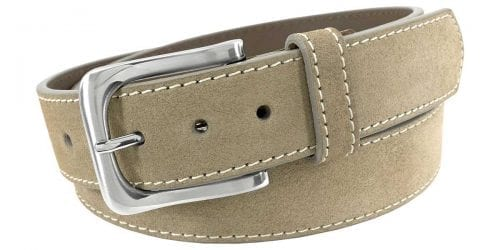 Men's tan leather belt offered by Status Leather Goods