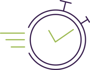 line art of a stop watch moving quickly, much like our overnight design
