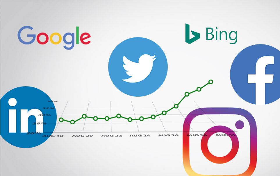 twitter, instagram, facebook, bing, google, and linkedIn logos, all areas where 24-Hour Design can help with SEO