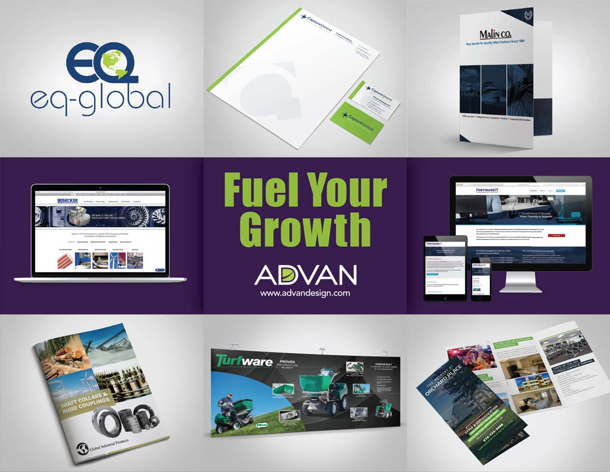 Fuel Your Growth with ADVAN Design, an Akron branding agency | Various examples of ADVAN's design portfolio.