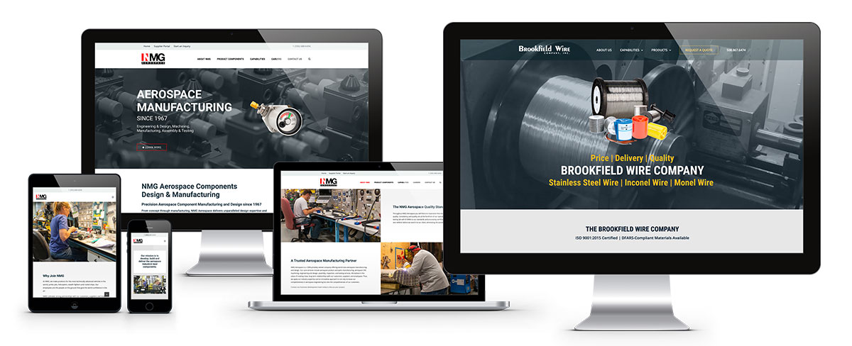 ADVAN website design examples for Brookfield Wire and NMG Aerospace displayed on desktop, laptop, and mobile | Fast graphic design services