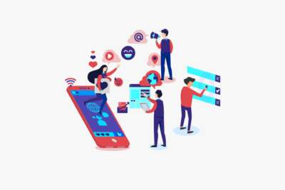 Cartoon people using large phones and apps in colorful depiction | Quick graphic design services
