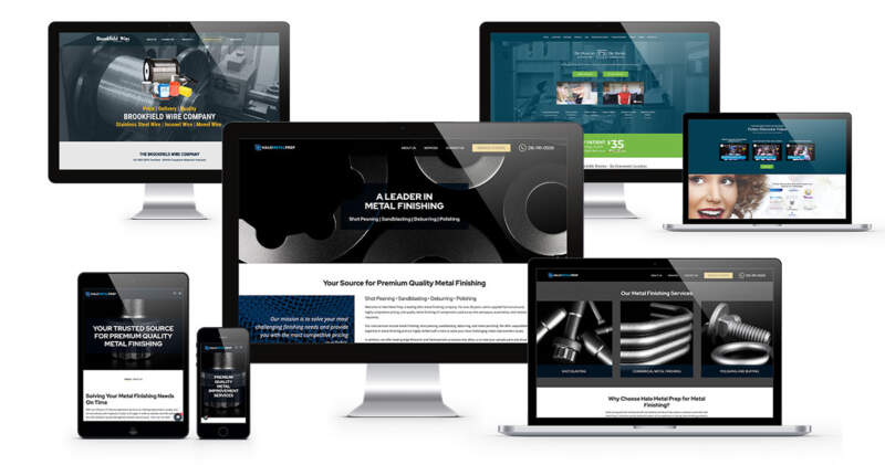 A selection of web design examples from ADVAN displayed on desktops, laptops, and mobile devices | Quick graphic design